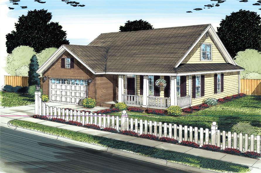Front elevation of Country home (ThePlanCollection: House Plan #178-1302)
