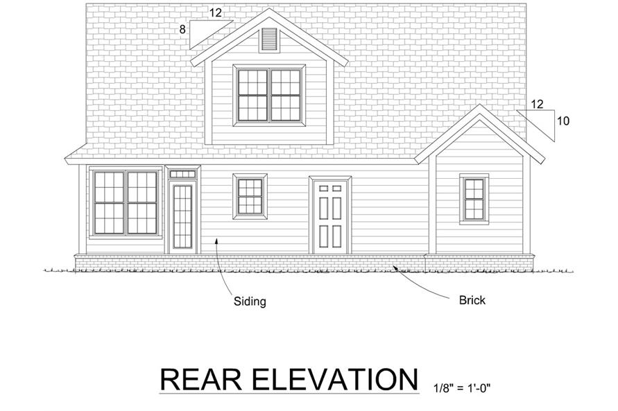 178-1303: Home Plan Rear Elevation