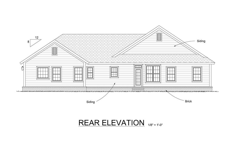 178-1304: Home Plan Rear Elevation