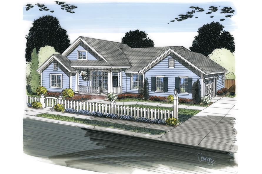 Front elevation of Ranch home (ThePlanCollection: House Plan #178-1304)