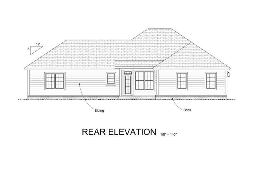 178-1305: Home Plan Rear Elevation