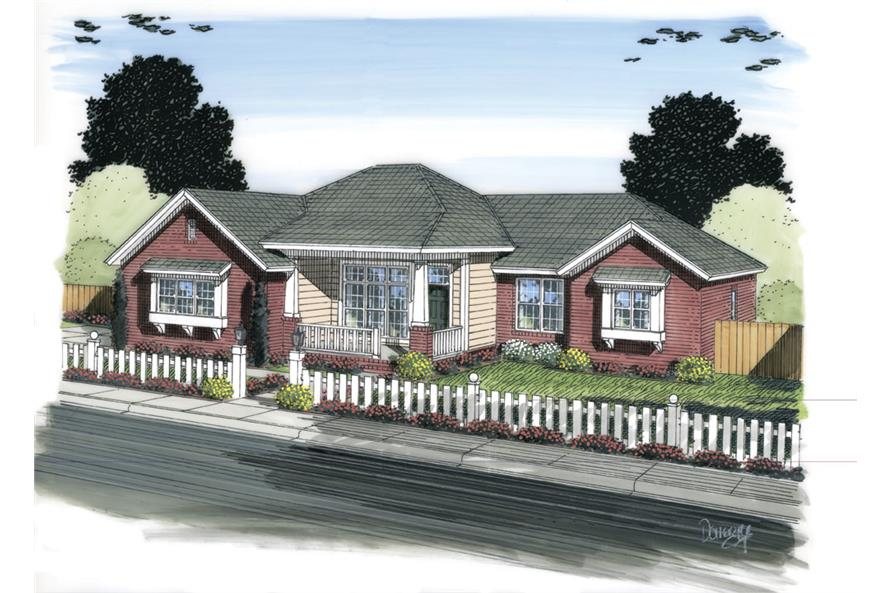 Front elevation of Traditional home (ThePlanCollection: House Plan #178-1305)