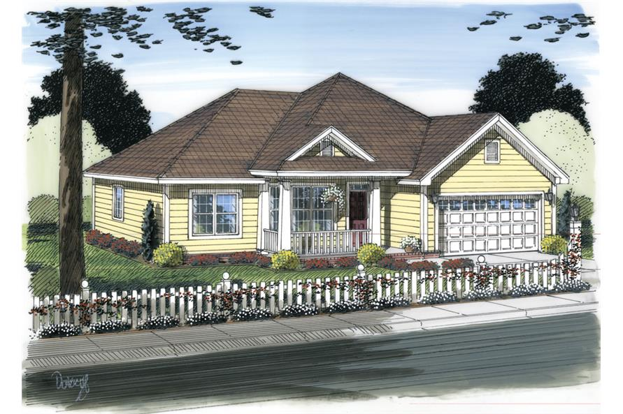 Front elevation of Traditional home (ThePlanCollection: House Plan #178-1306)