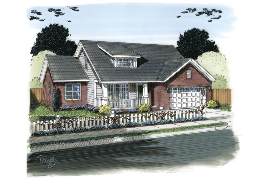 Front elevation of Traditional home (ThePlanCollection: House Plan #178-1307)