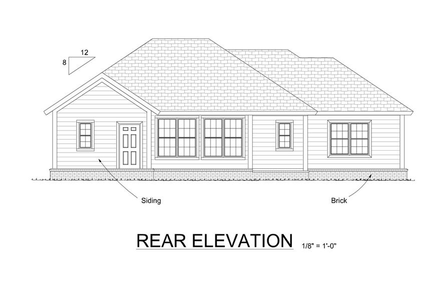 178-1308: Home Plan Rear Elevation