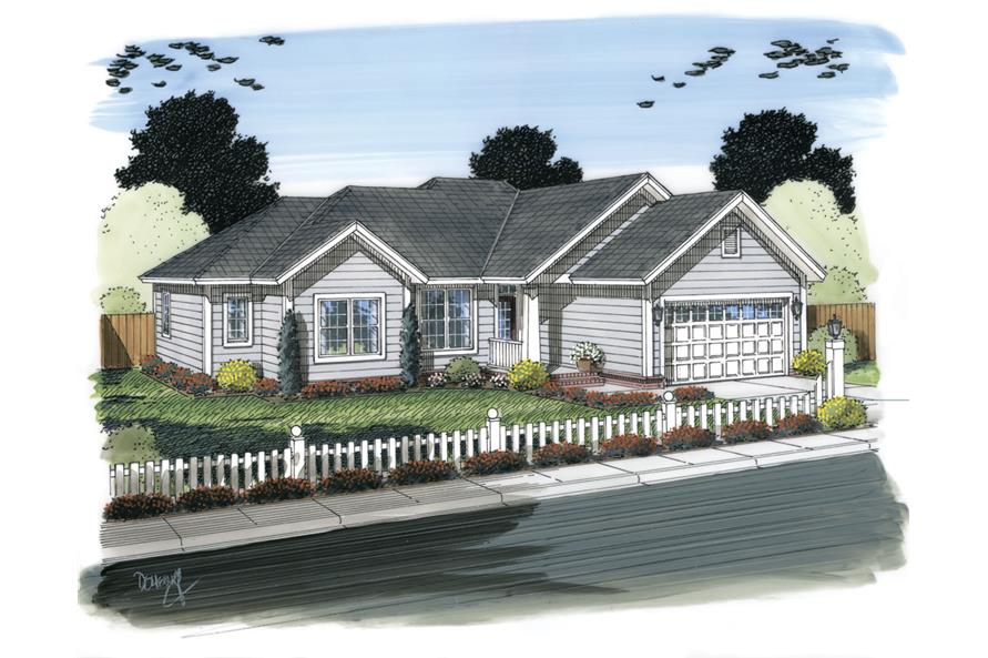 Front elevation of Traditional home (ThePlanCollection: House Plan #178-1308)