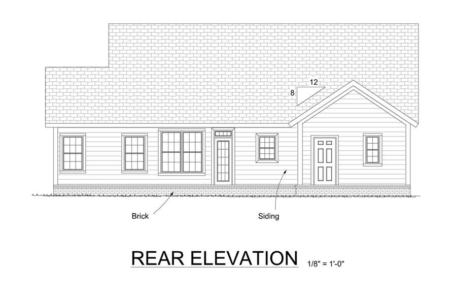 178-1309: Home Plan Rear Elevation