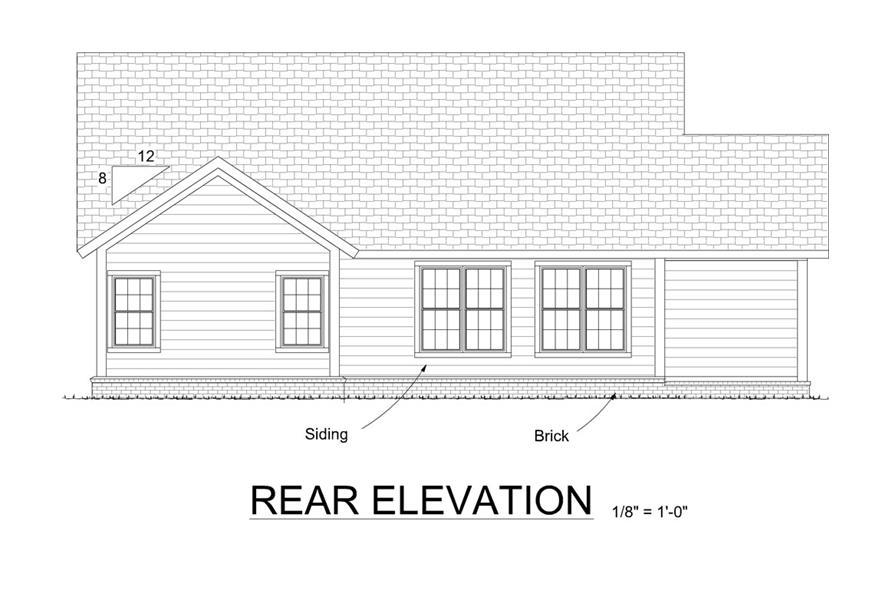 178-1310: Home Plan Rear Elevation