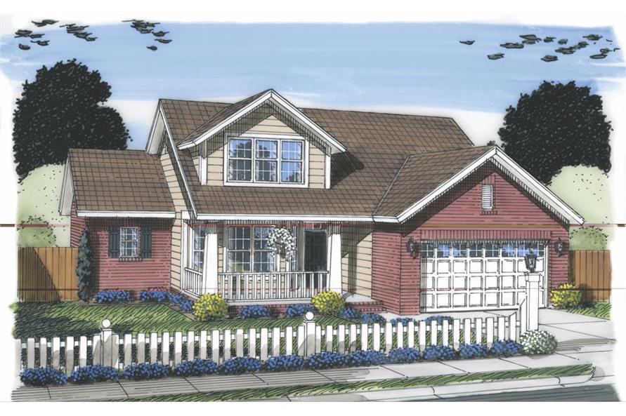 Front elevation of Traditional home (ThePlanCollection: House Plan #178-1310)
