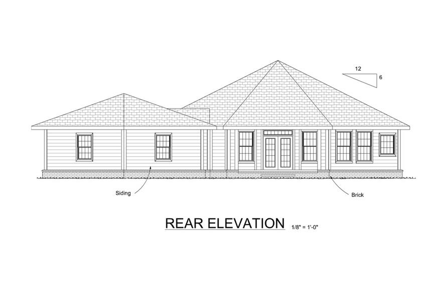 Home Plan Rear Elevation of this 3-Bedroom,1793 Sq Ft Plan -178-1311