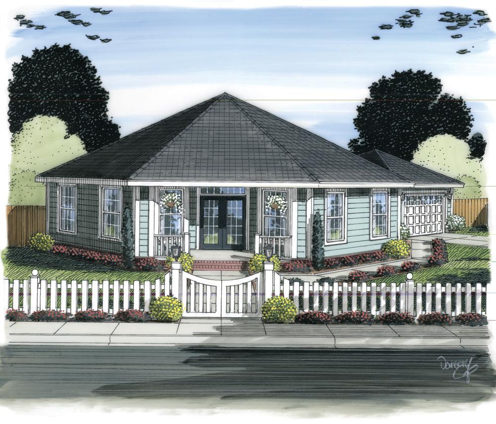 Front elevation of Ranch home (ThePlanCollection: House Plan #178-1311)