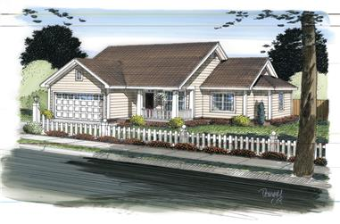 3-Bedroom, 1145 Sq Ft Traditional House Plan - 178-1312 - Front Exterior