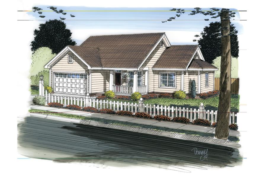 Front elevation of Traditional home (ThePlanCollection: House Plan #178-1312)