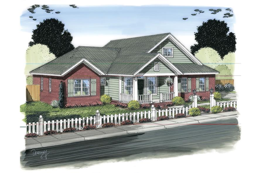 Front elevation of Ranch home (ThePlanCollection: House Plan #178-1313)