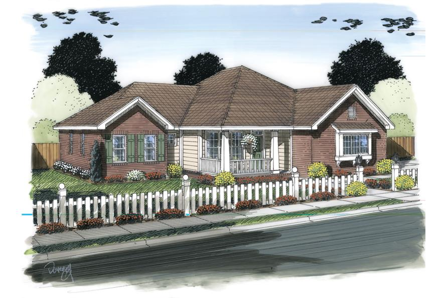 Front elevation of Ranch home (ThePlanCollection: House Plan #178-1314)