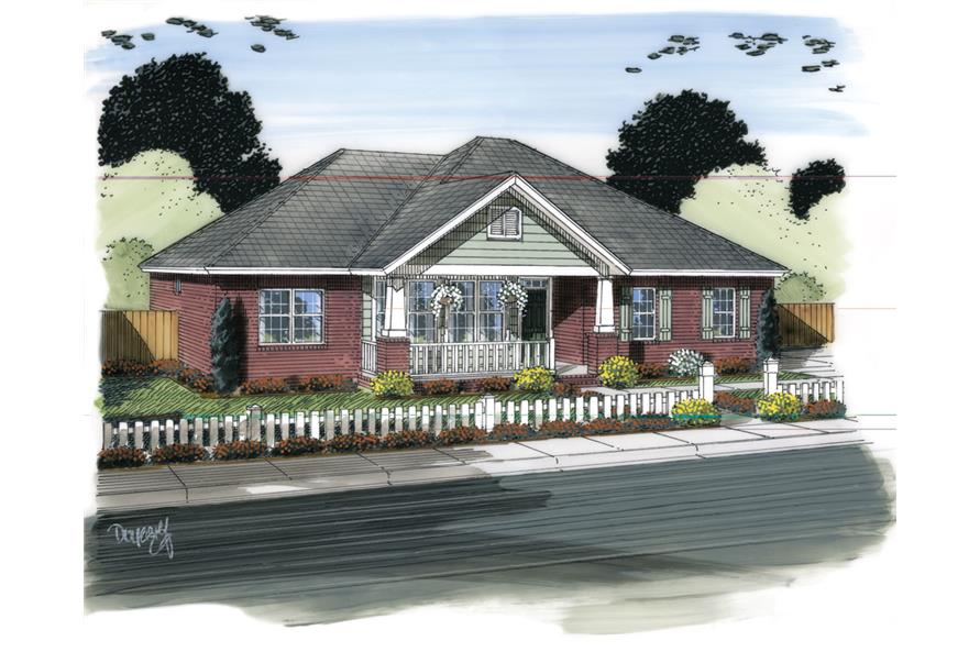 Front elevation of Ranch home (ThePlanCollection: House Plan #178-1315)