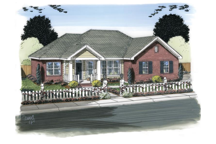 Front elevation of Traditional home (ThePlanCollection: House Plan #178-1316)