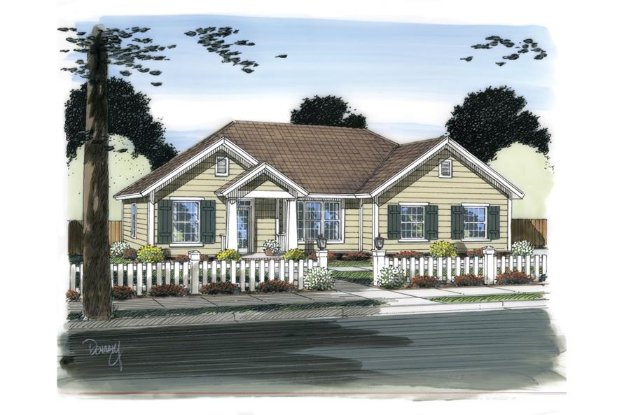 Front elevation of Traditional home (ThePlanCollection: House Plan #178-1317)