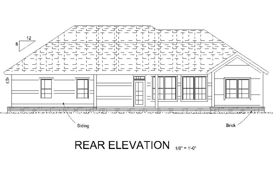 178-1318: Home Plan Rear Elevation