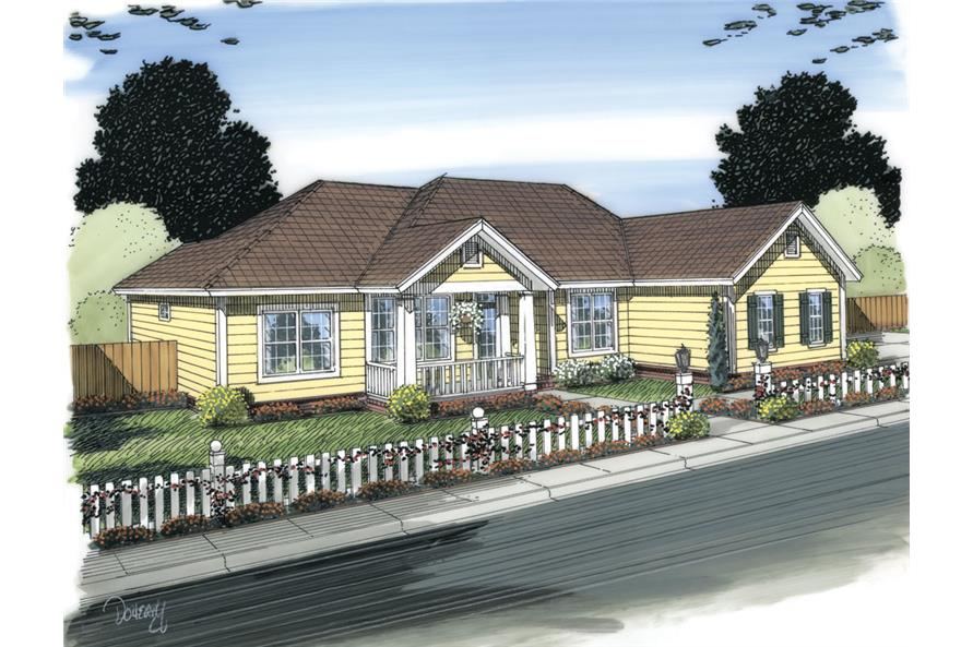 Front elevation of Ranch home (ThePlanCollection: House Plan #178-1318)