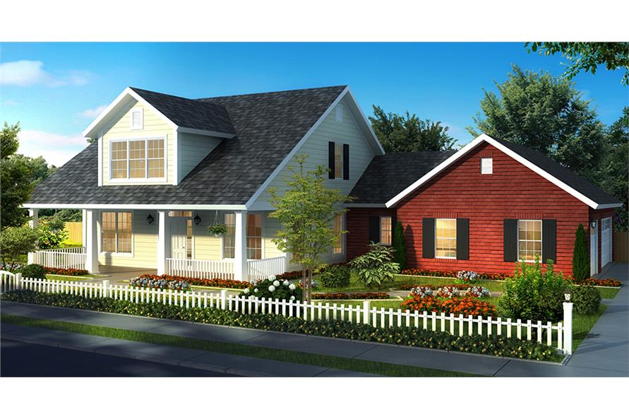 Front elevation of Cottage home (ThePlanCollection: House Plan #178-1321)