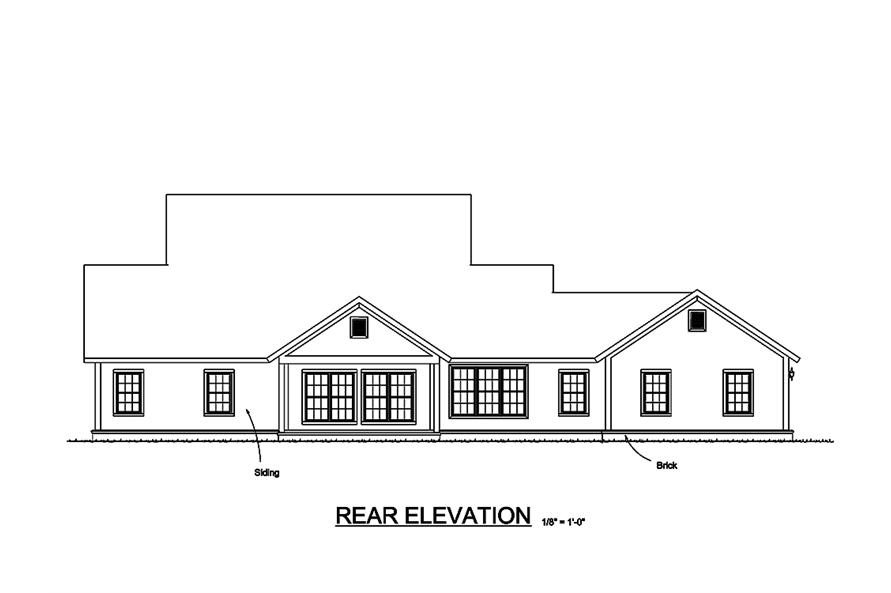 Home Plan Rear Elevation of this 4-Bedroom,2796 Sq Ft Plan -178-1322