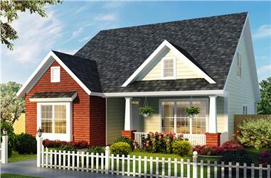 Front elevation of Craftsman home (ThePlanCollection: House Plan #178-1326)