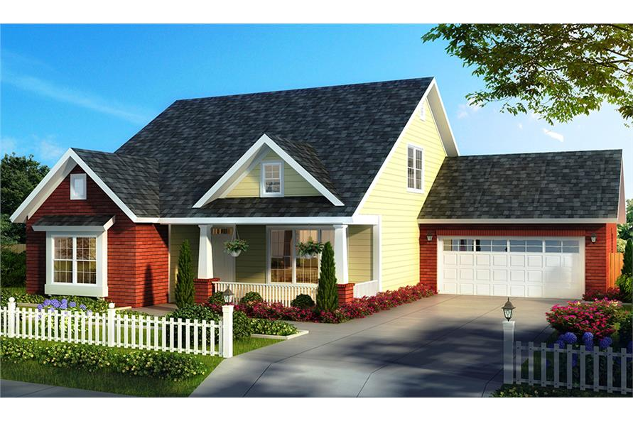 Front elevation of Craftsman home (ThePlanCollection: House Plan #178-1327)