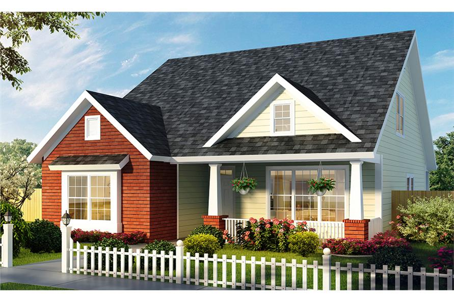Front elevation of Craftsman home (ThePlanCollection: House Plan #178-1328)