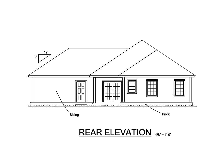 178-1330: Home Plan Rear Elevation