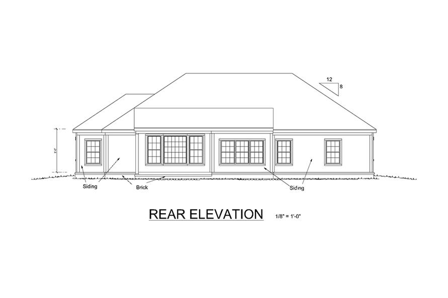 178-1333: Home Plan Rear Elevation