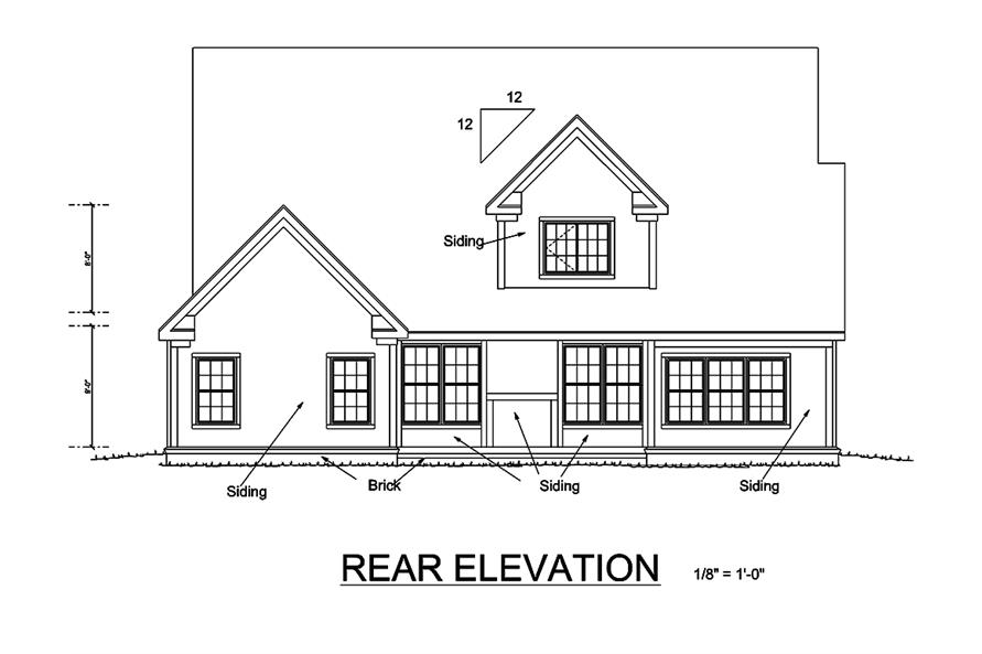 Home Plan Rear Elevation of this 4-Bedroom,2180 Sq Ft Plan -178-1334