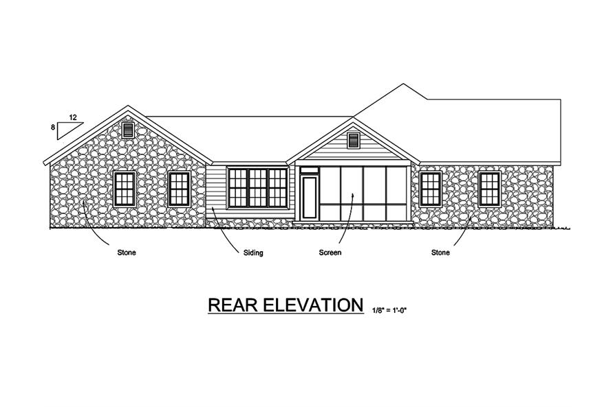 178-1337: Home Plan Rear Elevation