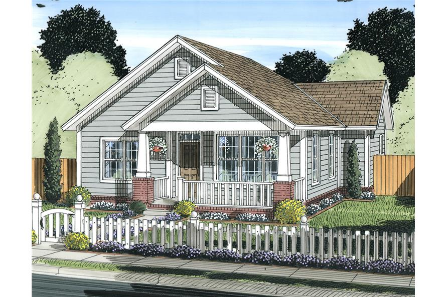 Front elevation of Cottage home (ThePlanCollection: House Plan #178-1338)