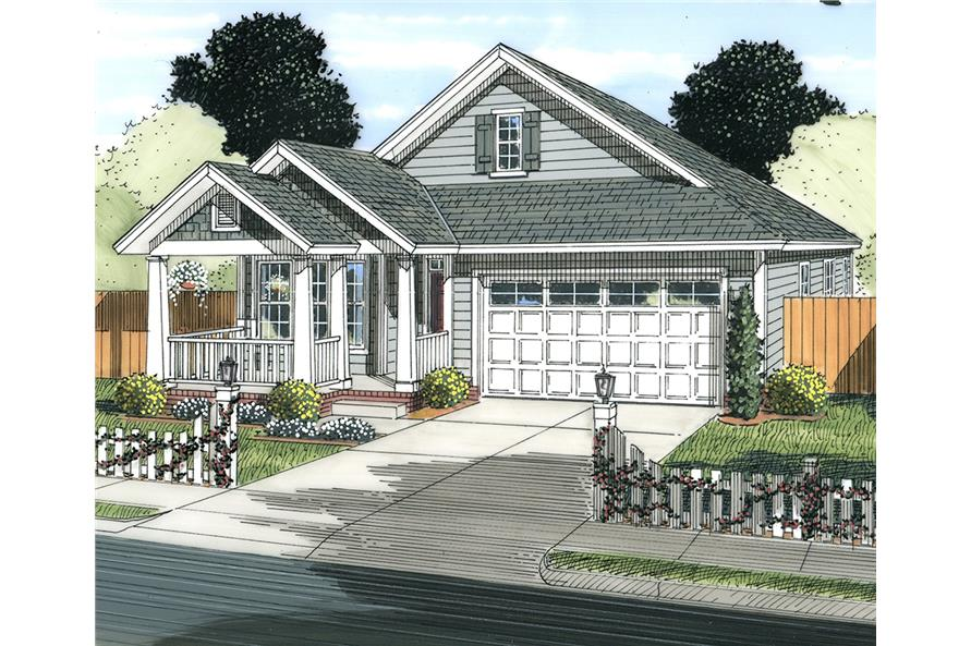 Front elevation of Cottage home (ThePlanCollection: House Plan #178-1339)