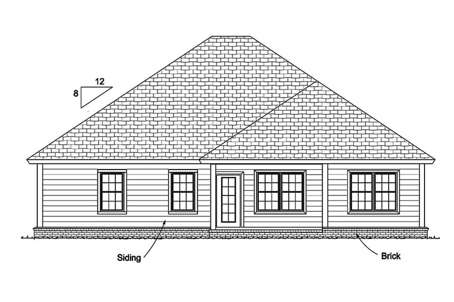 178-1340: Home Plan Rear Elevation