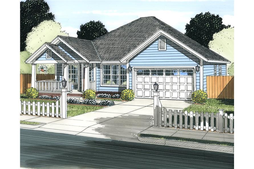 Front elevation of Cottage home (ThePlanCollection: House Plan #178-1340)