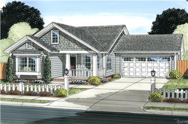 3-Bedroom, 1420 Sq Ft Cottage House Plan - 178-1342 - Front Exterior