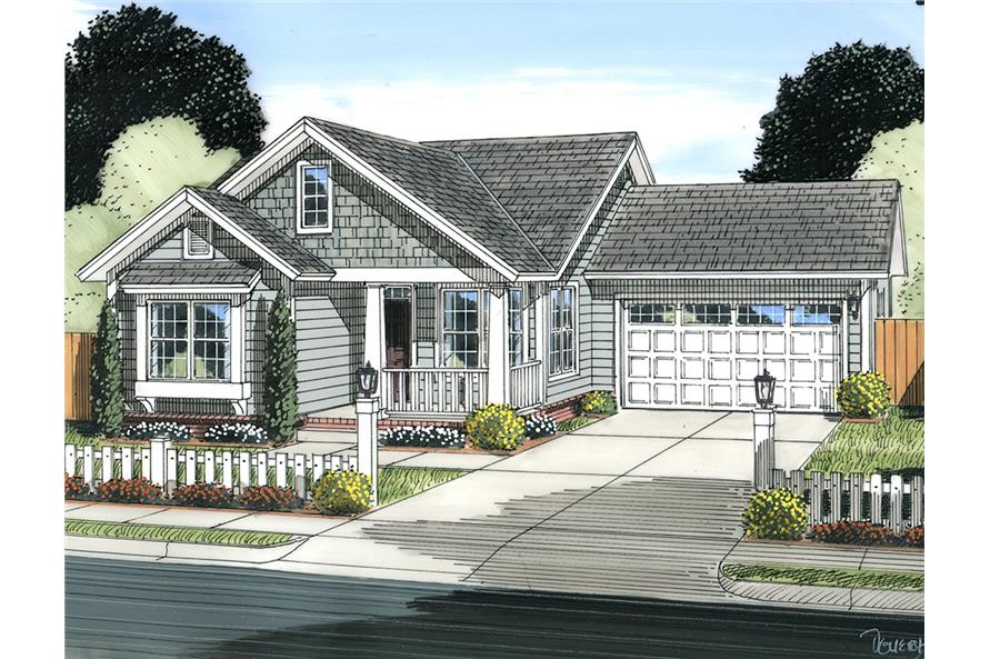 Front elevation of Cottage home (ThePlanCollection: House Plan #178-1342)