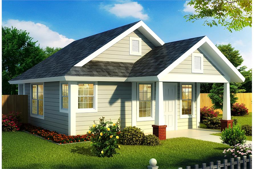 1-Bedroom, 550 Sq Ft Cottage Home Plan - 178-1344 - Main Exterior