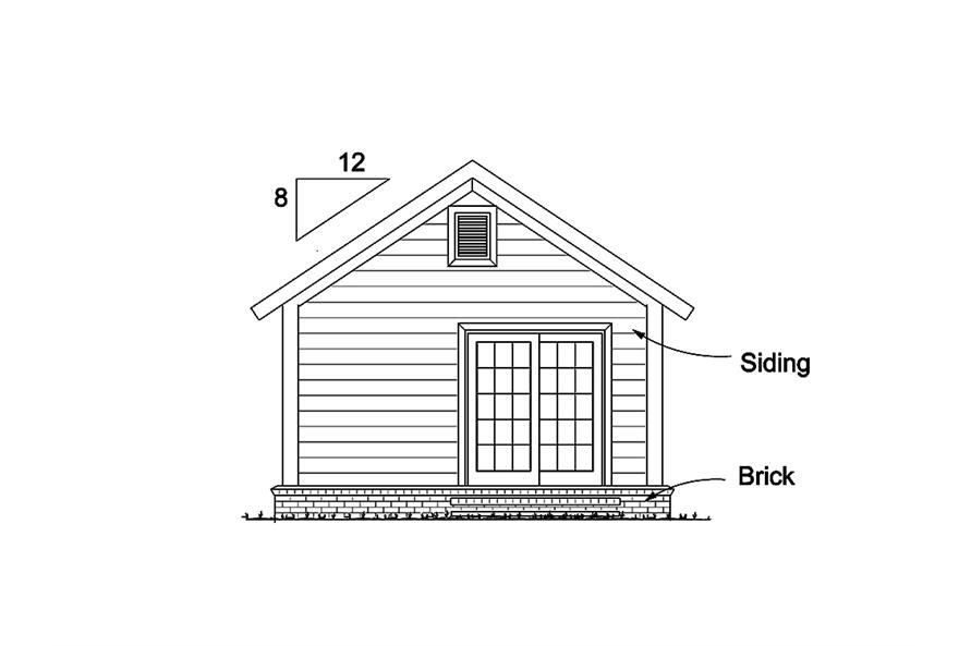 Home Plan Rear Elevation of this 1-Bedroom,395 Sq Ft Plan -178-1345