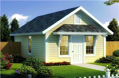 1-Bedroom, 395 Sq Ft Cottage Home Plan - 178-1345 - Main Exterior