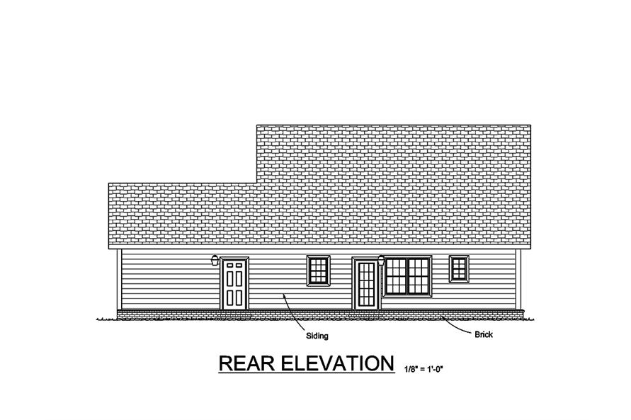 178-1347: Home Plan Rear Elevation