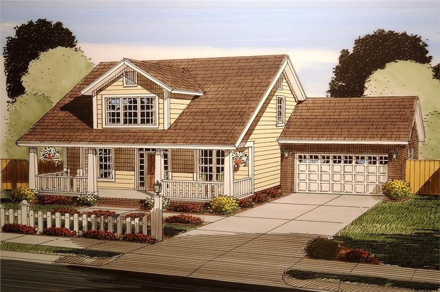 Front elevation of Craftsman home (ThePlanCollection: House Plan #178-1347)