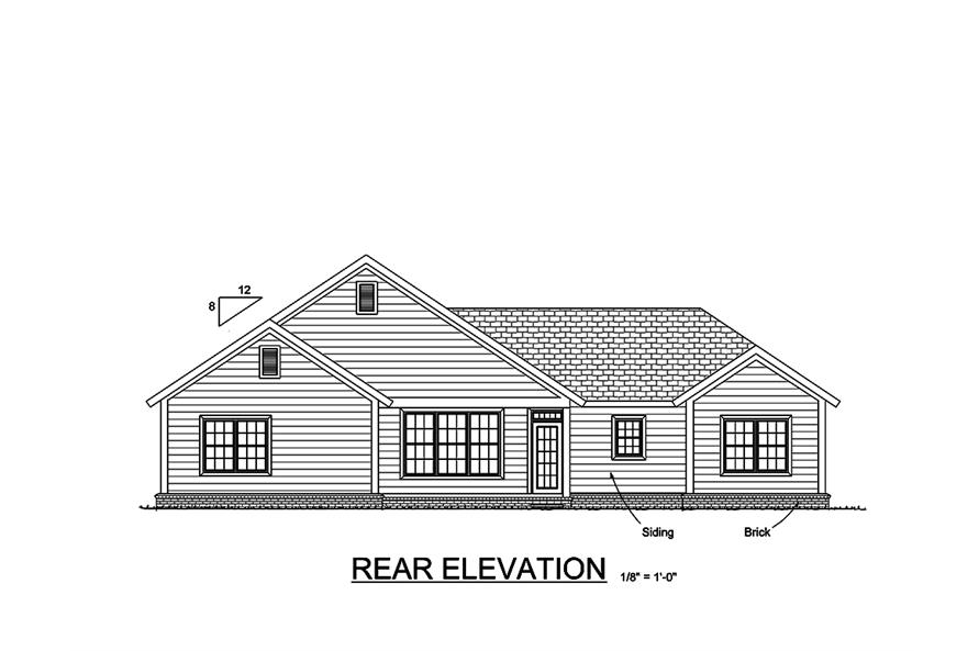 178-1348: Home Plan Rear Elevation