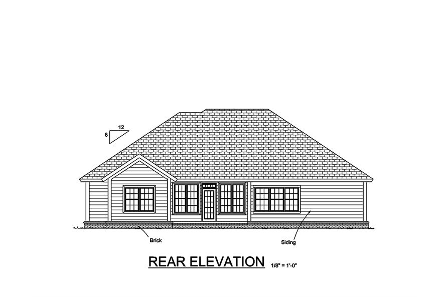 Home Plan Rear Elevation of this 5-Bedroom,1988 Sq Ft Plan -178-1349
