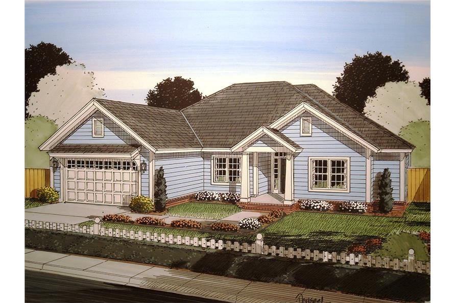 Front elevation of Craftsman home (ThePlanCollection: House Plan #178-1349)
