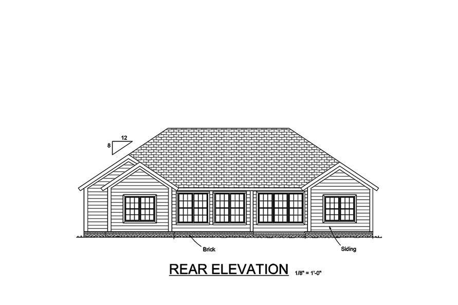 178-1350: Home Plan Rear Elevation
