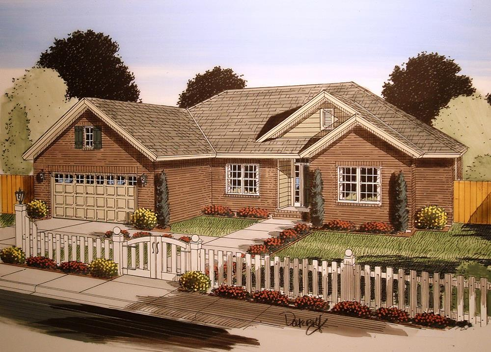 Front elevation of Craftsman home (ThePlanCollection: House Plan #178-1350)
