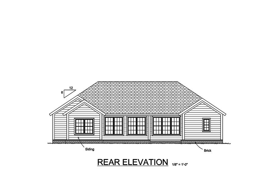 178-1351: Home Plan Rear Elevation